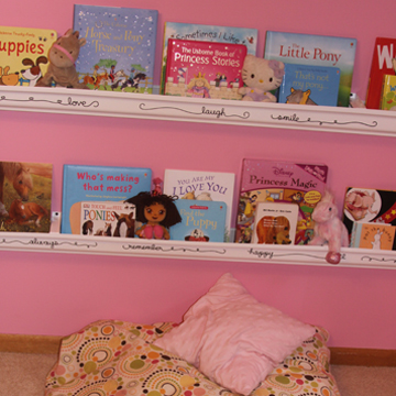 Girls Rain Gutter Bookshelves With Flare