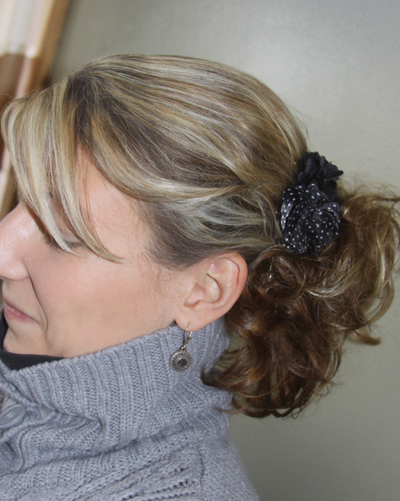 Fancy Five Minute Hairstyle Using Overnight Sock Bun Curls A