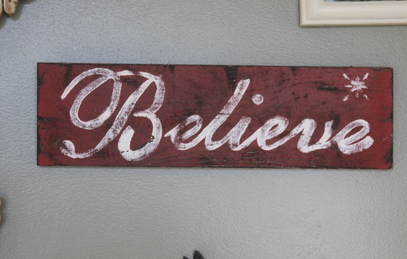 rustic christmas decoration do it yourself believe sign a spotted pony - Christmas Decor Signs