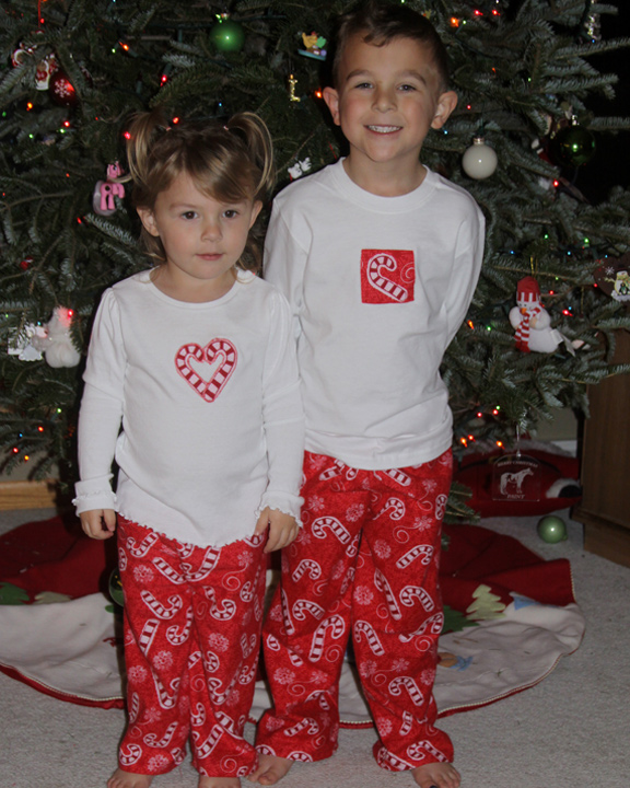 Appliqued Candy Cane Shirts and Pajama Pants – Making One Of A ...