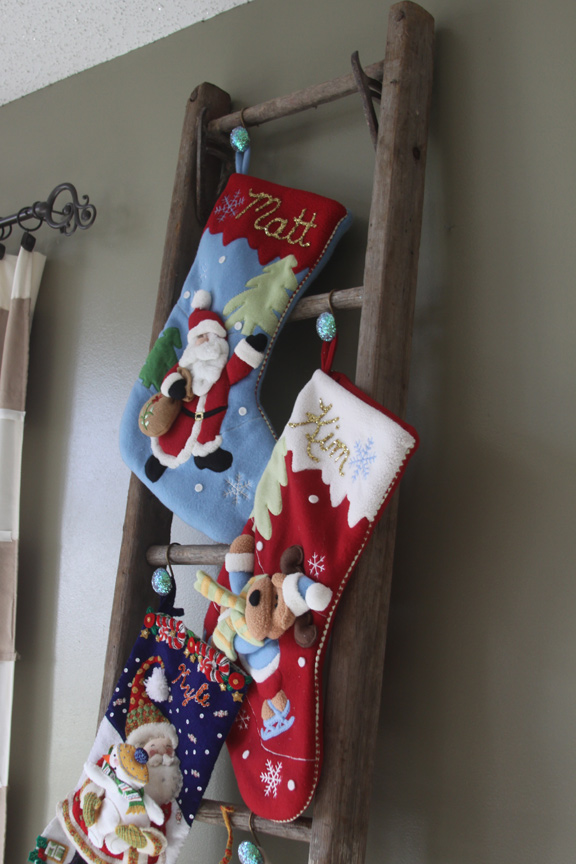 An alternative to putting christmas stockings on a mantel