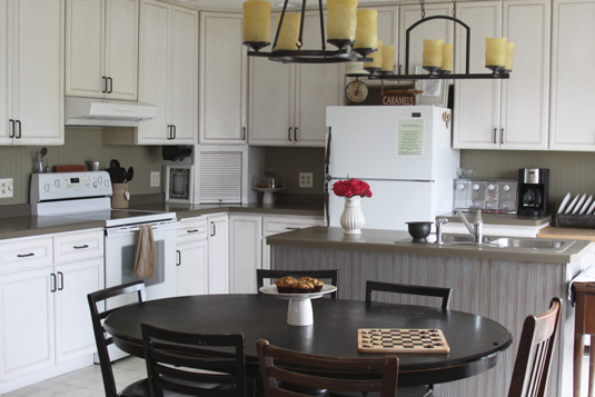 Kitchen Backsplash Using Beadboard Wallpaper Transform Your Home On A Budget A Spotted Pony