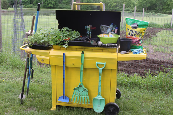 Repurpose An Old Grill Into A Garden Storage Cart A