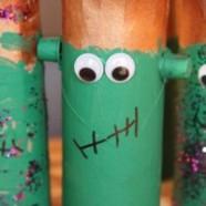 Toilet paper Roll Craft – Kids Halloween Frankenstein Decoration