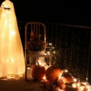 Tomato Cage and White Light Ghost – Halloween Decoration