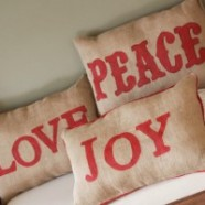 Homemade Christmas Decor – Burlap Pillows