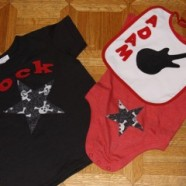 Matching Appliqued Rock Star Shirt And Onesie For Big And Baby Brother