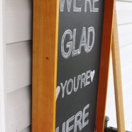 Repurposed Serving Tray To A Chalkboard Welcome Sign